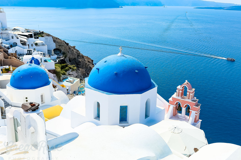 Blue Doomed Roofs in Oia