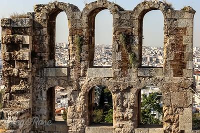 View through ancient arches