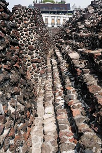 Volcanic rock and a cement based mortar were used to build these structure