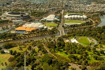 Melbourne' s Cricket Ground, Rod Laver Arena and associated tennis arenas at Melbourne Park