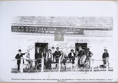 Mendelson's Saloon and Billiard Parlor. San Juan Capistrano. 2. Ed Mendelson; 5. Felipe Lobo; 6. Clarence Mendelson; 7. Victor Manriquez
