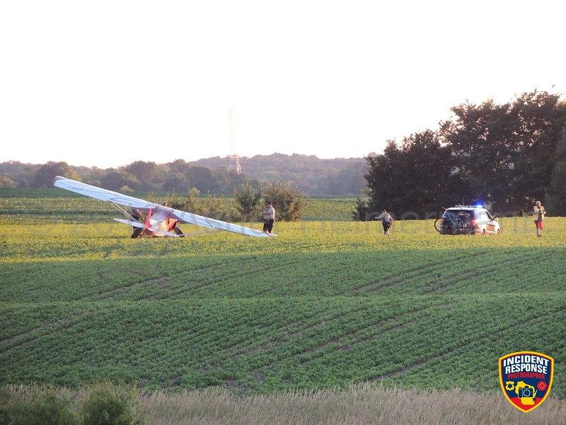 A small airplane lost power and made an emergency landing in a farm field near Highway 32 & County Road FF in the Town of Herman, Wisconsin on Saturday, July 7, 2018. Photo by Asher Heimermann/Incident Response.