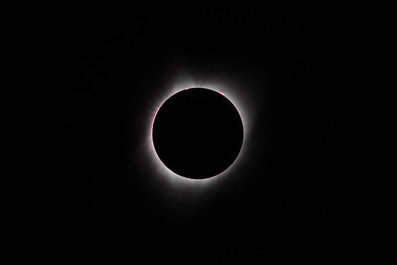 Totality, with solar prominences visible.