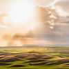 An evening rain shower and building storm cast glowing light across the landscape of the Palouse region of Eastern Washington.