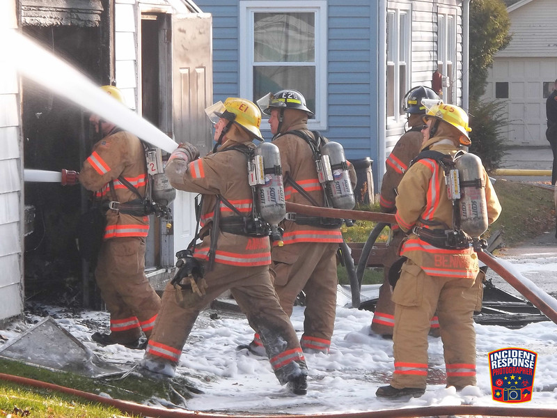 The Sheboygan Fire Department responded to a garage fire near North 10th Street and Los Angeles Avenue on Wednesday, November 23, 2011. Photo by Asher Heimermann/Incident Response.