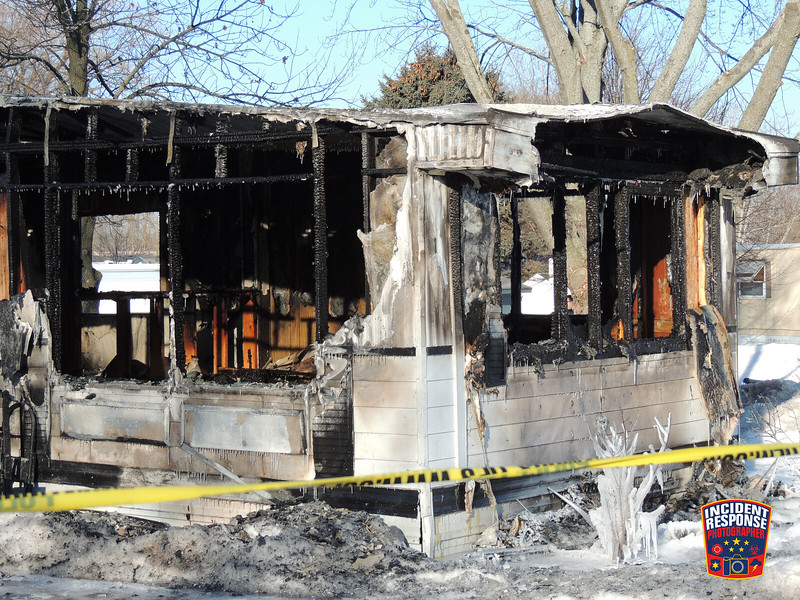 One person was killed in a mobile home fire at 1 Cheyenne Trail in the Indian Meadows Trailer Park in Sheboygan, Wisconsin on Wednesday, February 26, 2014. Photo by Asher Heimermann/Incident Response.
