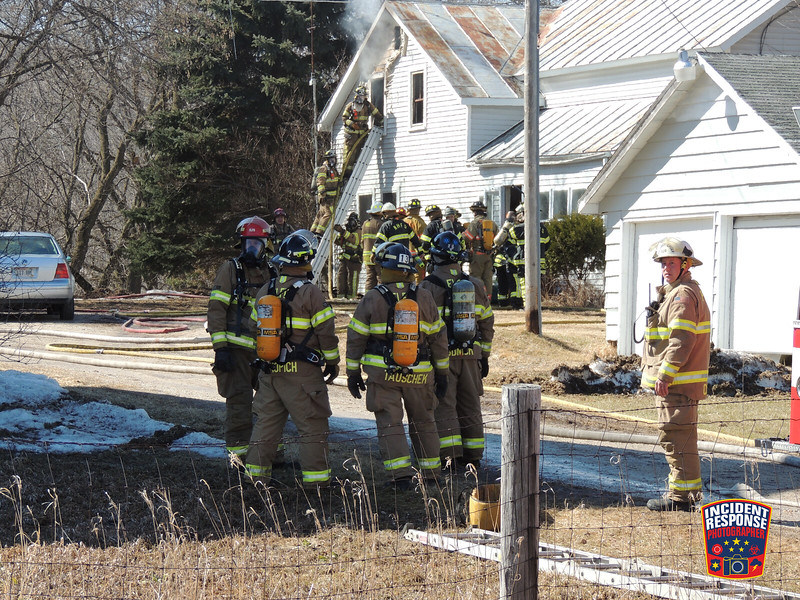 The Kiel Fire Department requested MABAS Box 6-2-2 for a house fire at 14902 South Cedar Lake Road in Kiel, Wisconsin on Saturday, March 29, 2014. Photo by Asher Heimermann/Incident Response.