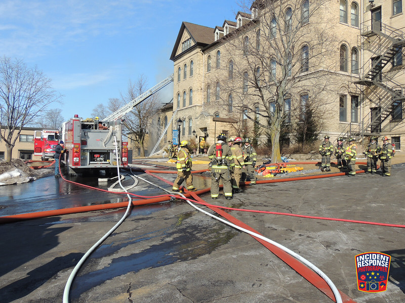 Firefighters from multiple counties responded to a four-alarm structure fire at the St. Lawrence Seminary High School in Mount Calvary, Wisconsin on Saturday, March 8, 2014. Photo by Asher Heimermann/Incident Response.