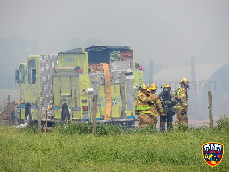 The Cedar Grove Fire Department requested MABAS Card 7-1-2 to the 1st Box Level for a barn fire at W2932 County Road RR in the Town of Holland, Wisconsin on Sunday, June 15, 2014. Photo by Asher Heimermann/Incident Response.