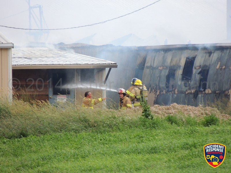 The Cleveland Fire Department requested MABAS Box Card 2-1-2 to the fourth-alarm for a barn fire at South Union Road & Point Creek Road in Cleveland, Wisconsin on Wednesday, July 9, 2014. Photo by Asher Heimermann/Incident Response.