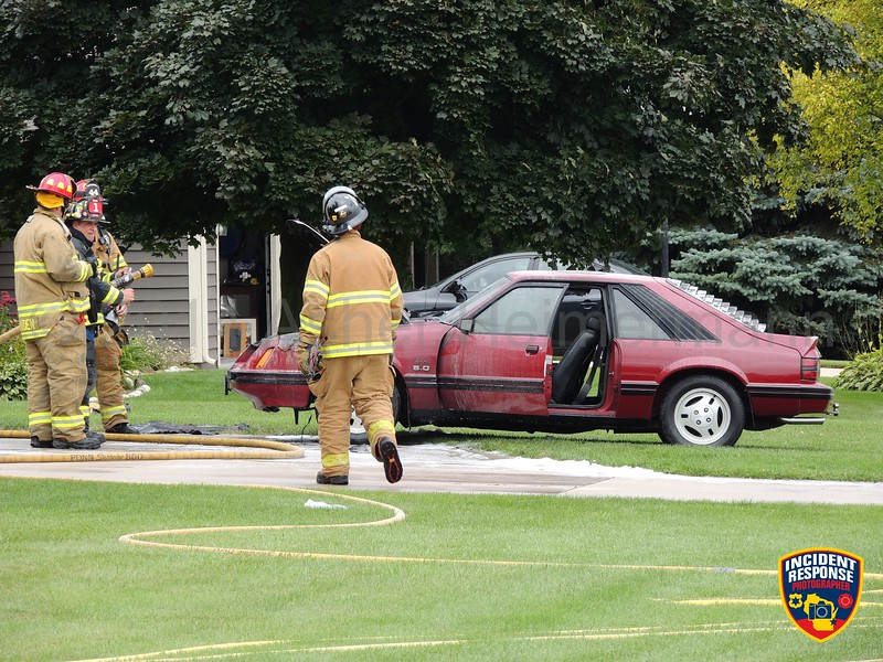 The Town of Sheboygan Fire Department responded to a car fire at 1604 Golf View Drive East in Sheboygan, Wisconsin on Sunday, August 17, 2014. Photo by Asher Heimermann/Incident Response.