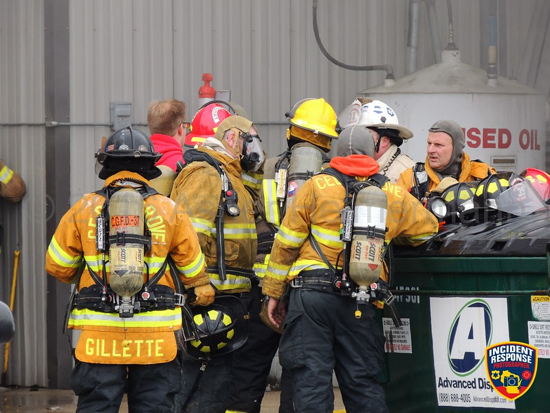 Firefighters from eight Sheboygan County fire departments battled a 1-alarm fire at Carlton Automotive in Oostburg, Wisconsin on Saturday, January 23, 2016. Photo by Asher Heimermann/Incident Response.