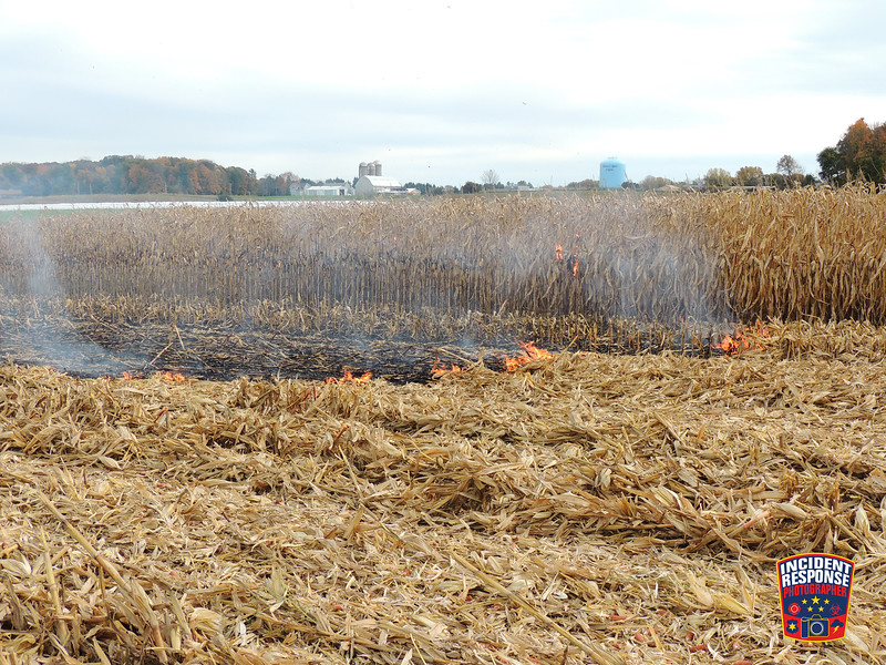 Several fire departments responded to a corn field fire at 820 Rangeline Road in the Town of Sheboygan Falls, Wisconsin on Wednesday, October 19, 2016. Photo by Asher Heimermann/Incident Response.