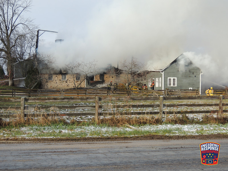 Firefighters responded to a barn fire at 6267 Homestead Drive in Belgium, Wisconsin on Monday, December 5, 2016. Photo by Asher Heimermann/Incident Response.