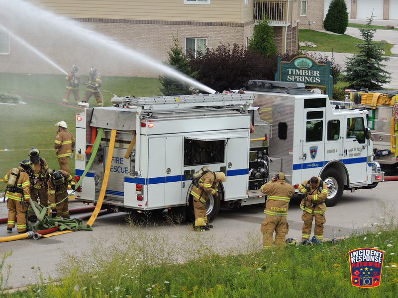Sheboygan County firefighters battled a 4-alarm fire at an apartment complex at 1046 Happy Lane in Sheboygan Falls, Wisconsin on Wednesday, August 10, 2016. Photo by Asher Heimermann/Incident Response.
