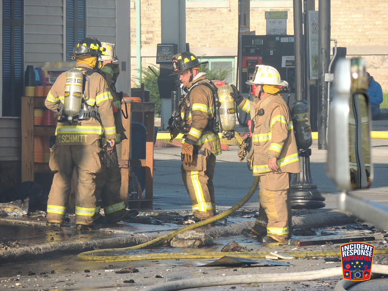 128 firefighters from 12 fire departments responded to a structure fire at the Lulloff True Value store, 203 Fremont Street in Kiel, Wisconsin on Monday, August 22, 2016. Photo by Asher Heimermann/Incident Response.