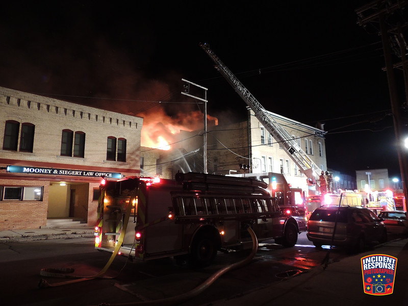 A woman was killed and three others were injured in a fire in Downtown Plymouth, Wisconsin on Thursday, November 9, 2017. Photo by Asher Heimermann/Incident Response.