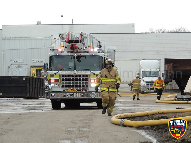 Firefighters responded to a fire inside a dust collector at Willman Industries in Cedar Grove, Wisconsin on Monday, February 27, 2017. Photo by Asher Heimermann/Incident Response.