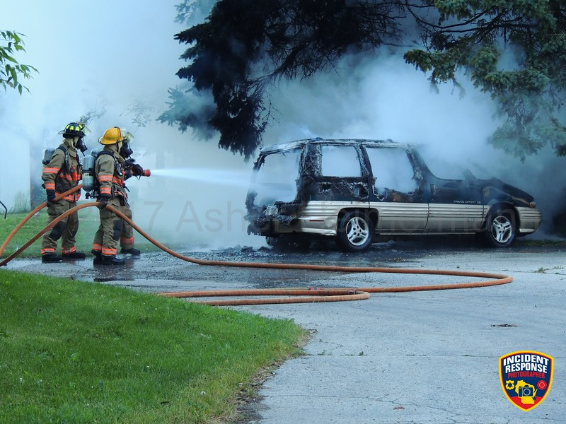Sheboygan firefighters responded to a fully engulfed vehicle fire at the Indian Meadows Trailer Park on Wednesday, June 14, 2017. Photo by Asher Heimermann/Incident Response.