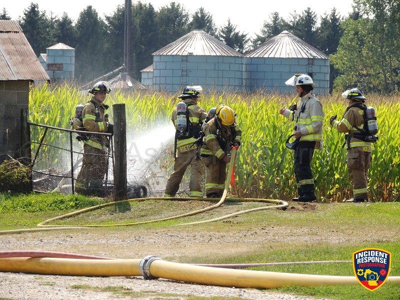 Firefighters responded to a barn fire at W3229 County Road D in the Town of Holland, Wisconsin on Sunday, September 10, 2017. Photo by Asher Heimermann/Incident Response.