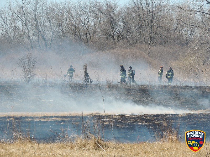 The Milwaukee Fire Department along with firefighters from North Shore Fire-Rescue, Mequon and Menomonee Falls were called to a wildland fire on Monday, March 25, 2019 at Havenwoods State Forest. The fire burned approximately 3 acres. Photo by Asher Heimermann/Incident Response.
