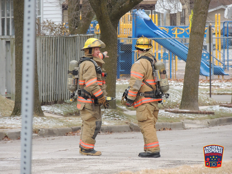 A natural gas meter was struck by a vehicle in the 1600 block of Mehrtens Avenue in Sheboygan, Wisconsin on Friday, December 19, 2014. Photo by Asher Heimermann/Incident Response.