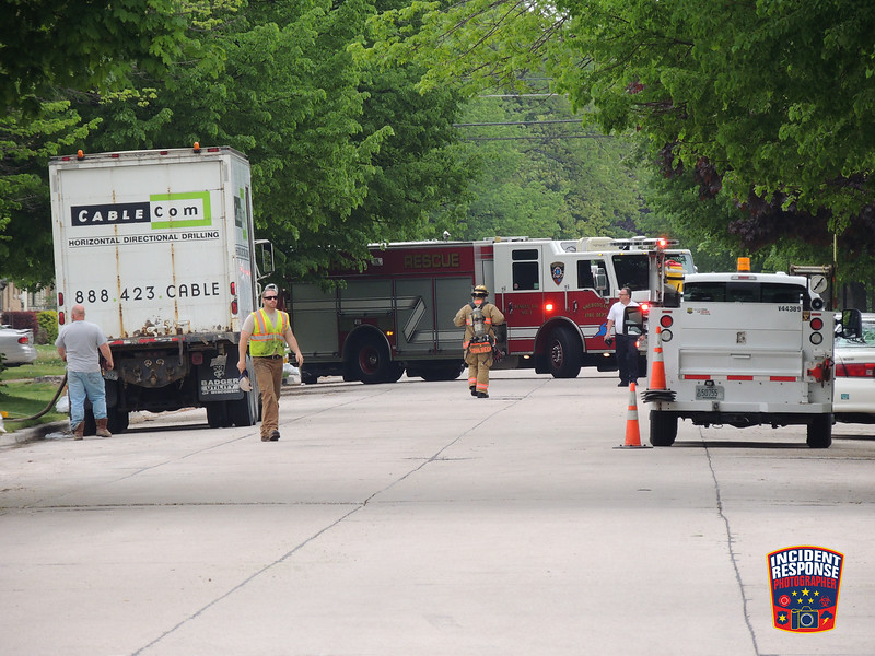 Construction workers struck a natural gas line on South 16th Street near Wilson Avenue in Sheboygan, Wisconsin on Friday, May 27, 2016. Photo by Asher Heimermann/Incident Response.