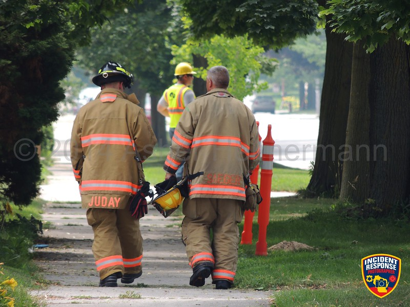 Sheboygan Water Utility crews struck an unmarked natural gas line at South 7th Street & Alabama Avenue in Sheboygan, Wisconsin on Tuesday, July 22, 2014. Photo by Asher Heimermann/Incident Response.