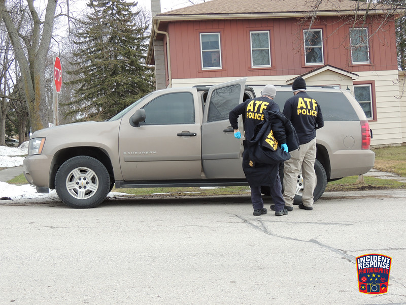 The Milwaukee County Sheriff's Office Explosive Ordnance Disposal Unit and ATF agents assisting the Sheboygan County Sheriff's Office with a criminal investigation at 720 West Second Street in Waldo, Wisconsin on Sunday, February 21, 2016. Photo by Asher Heimermann/Incident Response.
