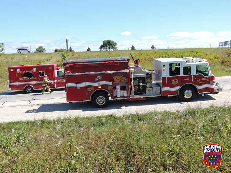 A semi tanker overturned at Interstate 43 & Highway 28 in Sheboygan, Wisconsin on Friday, September 13, 2012. Photo by Asher Heimermann/Incident Response.