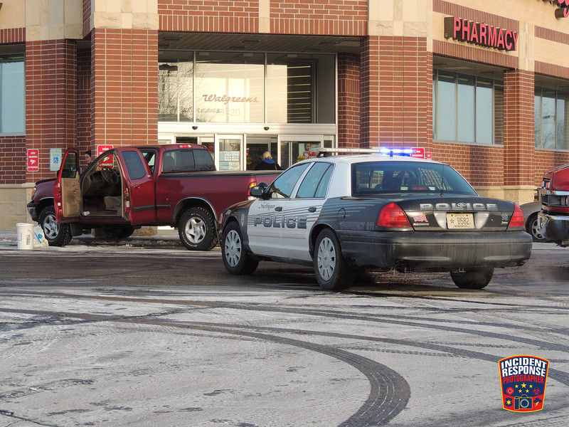 A truck crashed into the Walgreens store at South Business Drive & Washington Avenue in Sheboygan, Wisconsin on Monday, December 16, 2013. Photo by Asher Heimermann/Incident Response.