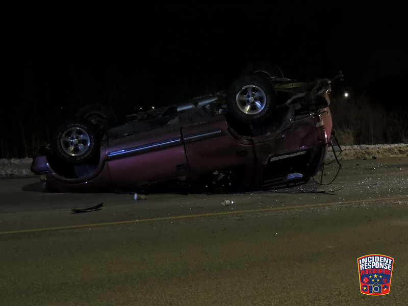 Single vehicle rollover crash in the 2700 block of Washington Avenue in Sheboygan, Wisconsin on Wednesday, December 18, 2013. Photo by Asher Heimermann/Incident Response.