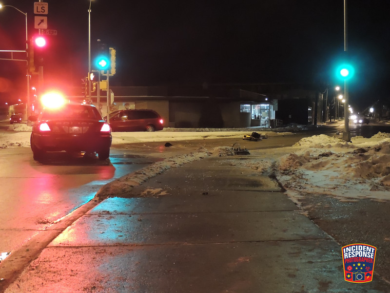 A suspected drunk driver crashed into a traffic light at North 15th Street & Calumet Drive in Sheboygan, Wisconsin on Saturday, December 21, 2013. Photo by Asher Heimermann/Incident Response.