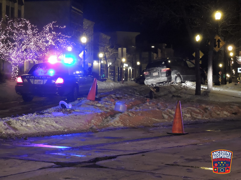 Single vehicle crash involving a light pole in the 600 block of South 8th Street in Sheboygan, Wisconsin on Saturday, January 25, 2014. Photo by Asher Heimermann/Incident Response.