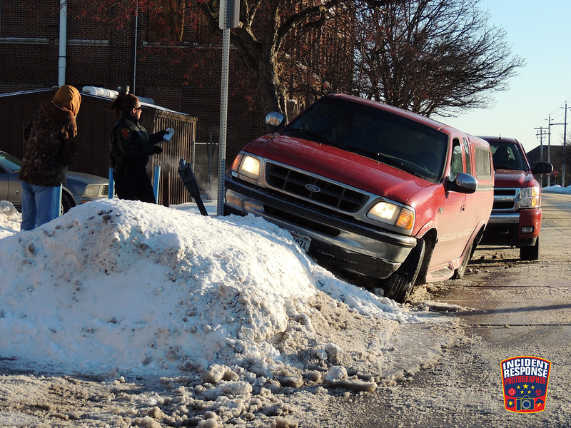 Single vehicle crash involving a parking meter near North 7th Street & Center Avenue in Sheboygan, Wisconsin on Monday, January 27, 2014. Photo by Asher Heimermann/Incident Response.