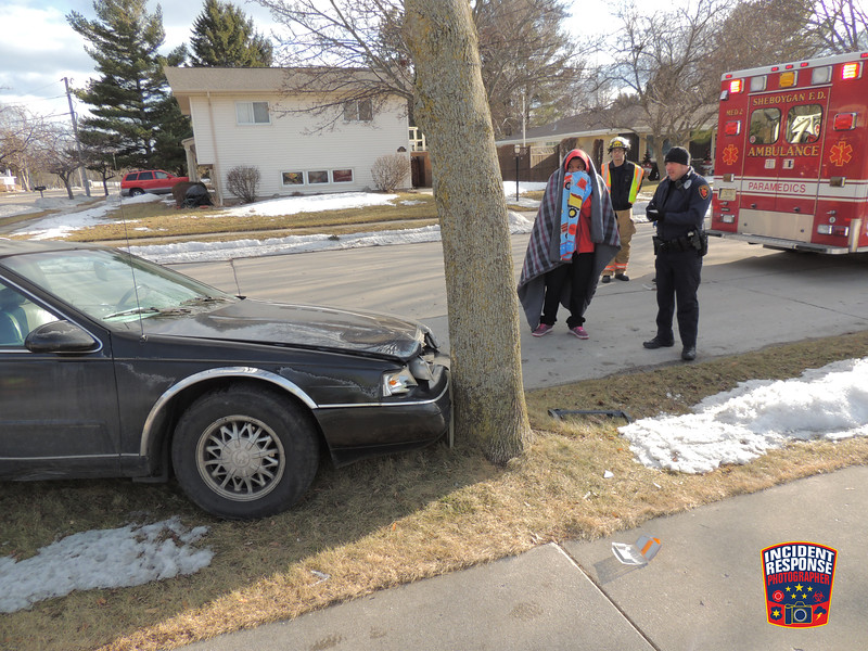 Single vehicle crash involving a tree at South 12th Street & Kauffman Avenue in Sheboygan, Wisconsin on Saturday, March 22, 2014. Photo by Asher Heimermann/Incident Response.