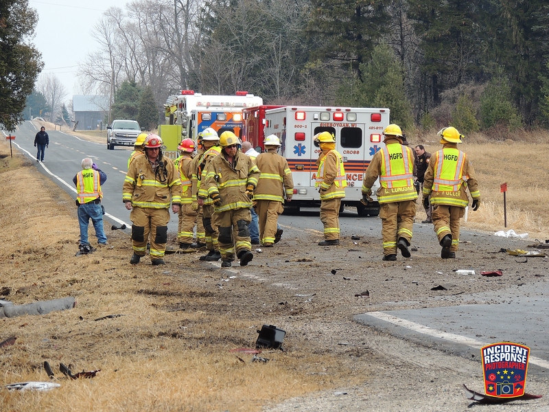 Two-vehicle crash with injuries at County Road Y & County Road FF in the Town of Mosel, Wisconsin on Friday, March 28, 2014. Photo by Asher Heimermann/Incident Response.