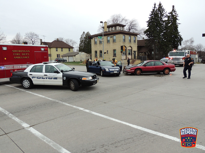 Two-vehicle accident at South 14th Street & Pennsylvania Avenue in Sheboygan, Wisconsin on Sunday, April 27, 2014. Photo by Asher Heimermann/Incident Response.