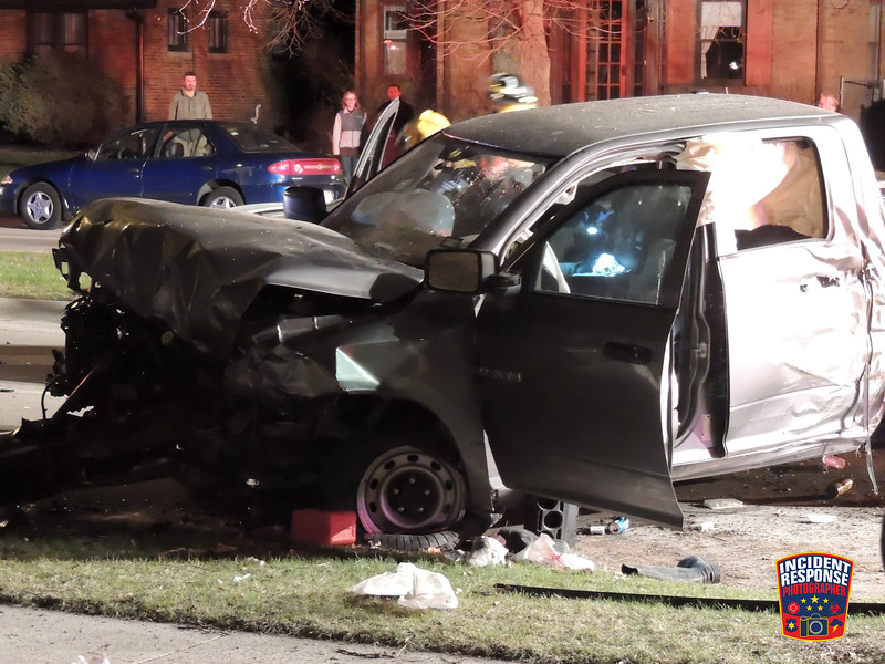 A man was seriously injured in a three-vehicle crash in the 1400 block of North Avenue in Sheboygan, Wisconsin on Sunday, April 27, 2014. Photo by Asher Heimermann/Incident Response.