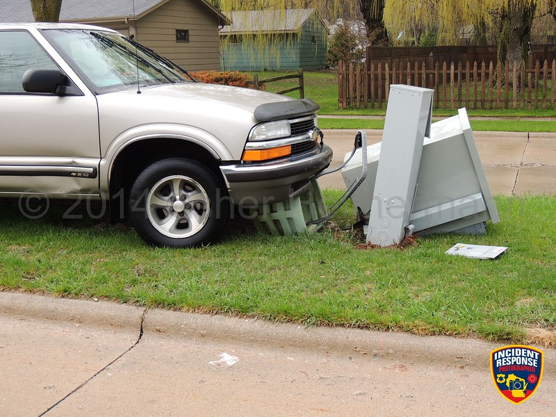 Single vehicle accident on Camelot Boulevard near Kings Court in Sheboygan, Wisconsin on Wednesday, May 7, 2014. Photo by Asher Heimermann/Incident Response.