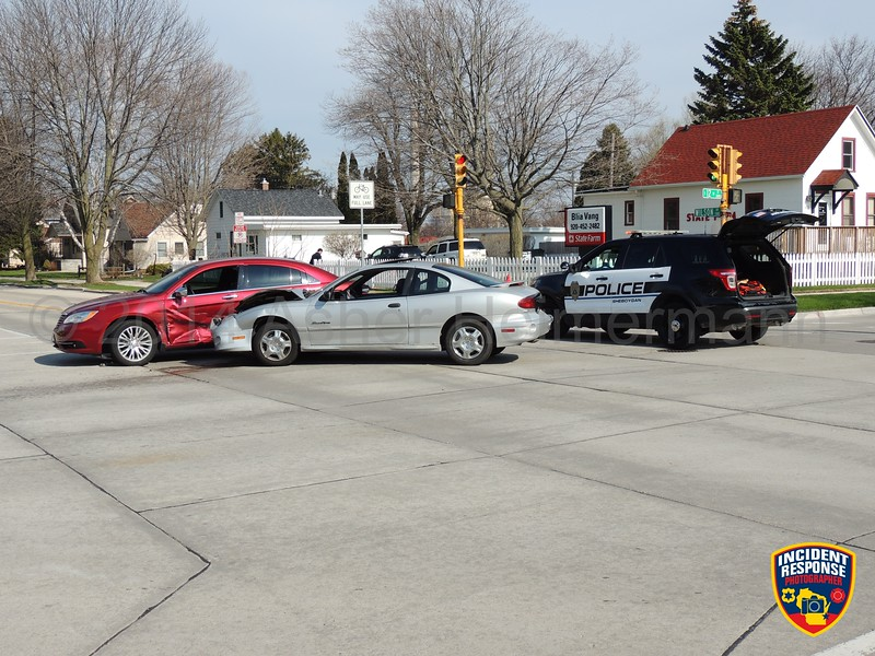 Two-vehicle accident at South 12th Street & Wilson Avenue in Sheboygan, Wisconsin on Thursday, May 8, 2014. Photo by Asher Heimermann/Incident Response.