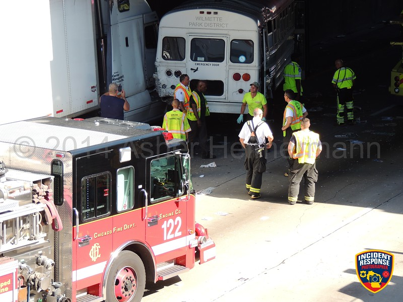 Multi-vehicle accident on the Dan Ryan Expressway at South 95th Street in Chicago, Illinois on Tuesday, June 3, 2014. Photo by Asher Heimermann/Incident Response.