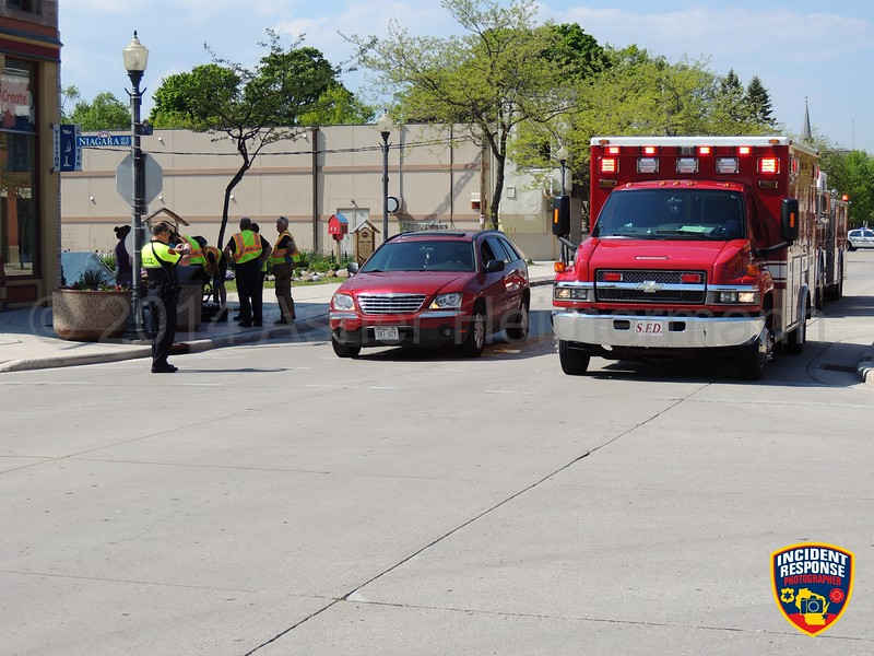 Two-vehicle crash at North 8th Street & Niagara Avenue in Sheboygan, Wisconsin on Friday, June 6, 2014. Photo by Asher Heimermann/Incident Response.