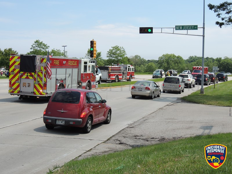 Three-vehicle crash with injuries at South Taylor Drive & New Jersey Avenue in Sheboygan, Wisconsin on Tuesday, June 24, 2014. Photo by Asher Heimermann/Incident Response.