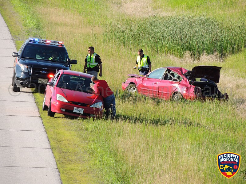Single vehicle rollover accident on Interstate 43 near County Road FF in Sheboygan, Wisconsin on Thursday, July 10, 2014. Photo by Asher Heimermann/Incident Response.