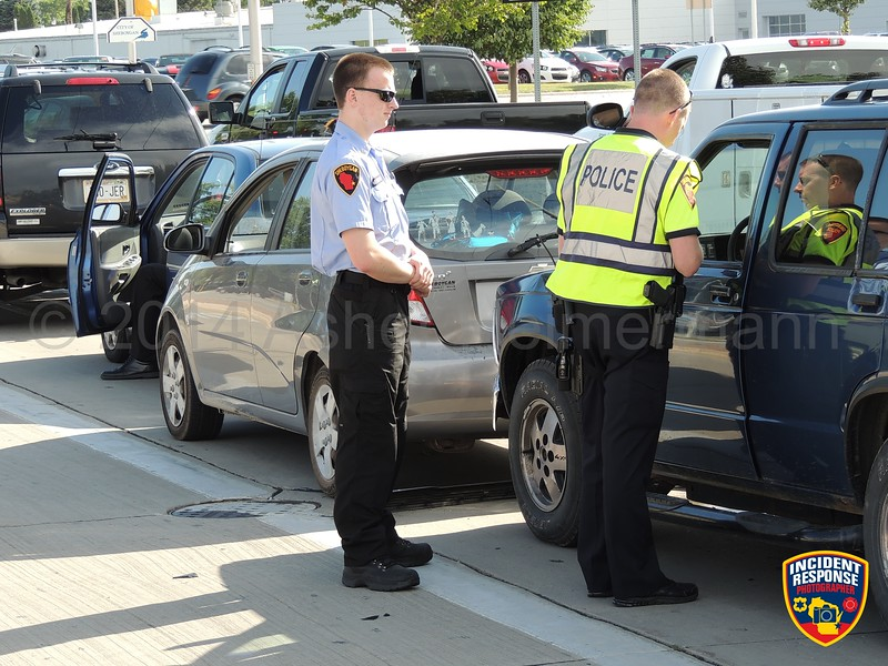 Four-vehicle accident at South Business Drive & Washington Avenue in Sheboygan, Wisconsin on Wednesday, July 23, 2014. Photo by Asher Heimermann/Incident Response.