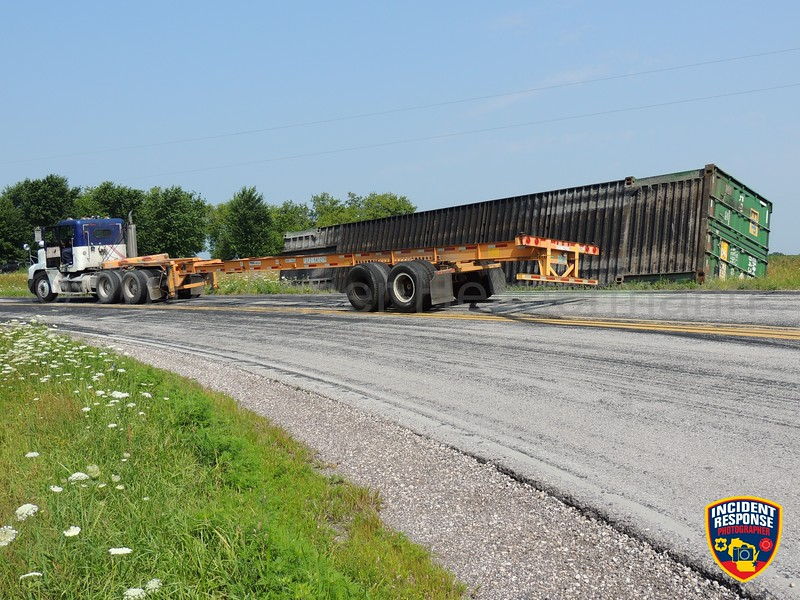 A semi carrying a container lost its load at County Road PP & Bridgewood Road near Sheboygan Falls, Wisconsin on Thursday, July 31, 2014. Photo by Asher Heimermann/Incident Response.