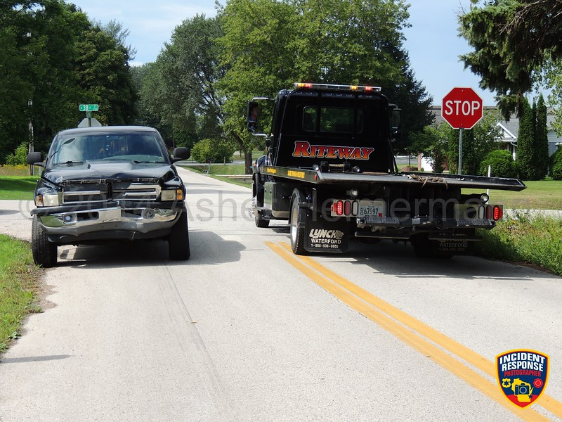 Two-vehicle crash at North 38th Street & Saemann Avenue in Sheboygan, Wisconsin on Friday, September 5, 2014. Photo by Asher Heimermann/Incident Response.