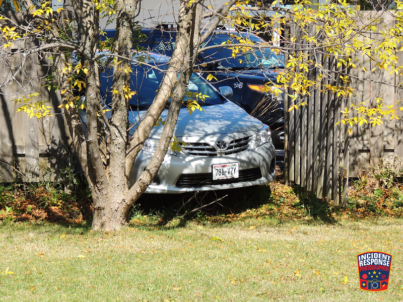 Single vehicle accident involving a fence at McDonald's, 2307 North Avenue in Sheboygan, Wisconsin on Thursday, October 9, 2014. Photo by Asher Heimermann/Incident Response.