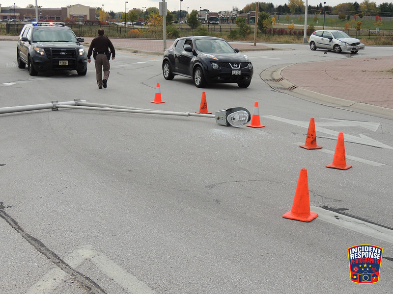 Two-vehicle crash at Highway 42 & Vanguard Drive in the Town of Sheboygan, Wisconsin on Monday, October 20, 2014. Photo by Asher Heimermann/Incident Response.
